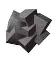 Abstract 3D overlapping dotwork cubes vector image