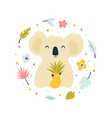 abstract design with cute koala and pineapple vector image vector image