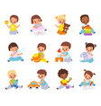 babies playing with toys multiethnic kids hold vector image vector image