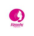 beauty salon logo portrait beautiful girl or vector image vector image