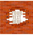 Broken white brick wall with flying bricks vector image vector image