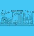 canada toronto city winter holidays skyline vector image vector image