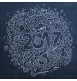 Cartoon cute doodles hand drawn 2017 year vector image vector image