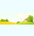 cartoon fall farm vector image vector image