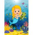 cartoon mermaid underwater wtih turtle vector image