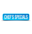 chefs specials blue 3d realistic square isolated vector image vector image