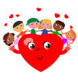 children friends and cute heart vector image vector image