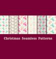 christmas seamless patterns collection with candy vector image