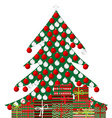 Christmas tree and gift boxes on white background vector image vector image