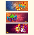 collection of cartoon banners with carnival masks vector image