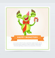 cute funny green monster in party hat with gift vector image vector image