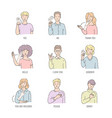 deaf english basic words in line art isolated on vector image vector image