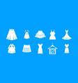 dress skirt icon blue set vector image