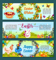 easter egg hunt celebration cartoon banner set vector image