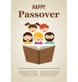 family reading hagada book at passover holiday vector image vector image