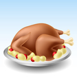 Fried turkey with potato vector image