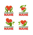 green fingers collection heart leaves vector image