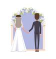 groom and bride under arc vector image vector image