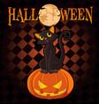 halloween on pumpkin vector image vector image