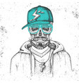 Hand drawing hipster skull with cap