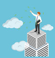 isometric businessman at the top of skyscraper vector image vector image