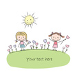 kids flowers chalky vector image vector image