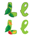 letter L leafs vector image