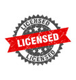 licensed grunge stamp with red band vector image vector image