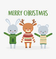 merry christmas celebration cute deer rabbit and vector image vector image
