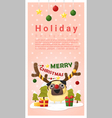 Merry Christmas Greeting banner with dog wearing vector image vector image