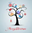 merry christmas tree and happy new year background vector image vector image
