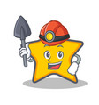 miner star character cartoon style vector image vector image