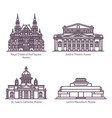 monuments russian architecture in thin line vector image vector image