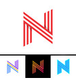n letter formed by parallel lines design template vector image