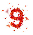 number 9 numbers with origami paper bird on vector image vector image