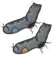 Old pair of holed socks with patches vector image vector image