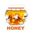 paper cut craft style clover honey jar vector image