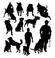 People Silhouettes With Dog vector image vector image