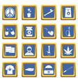 rastafarian icons set blue vector image vector image