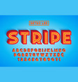 retro led stripe font design letters and numbers vector image