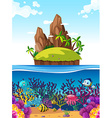 Scene with island and fish under the sea vector image vector image