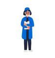 scientist - woman scientist in lab coat holding vector image vector image