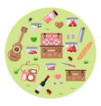 set for a picnic on a green background vector image