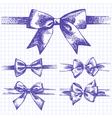 Set of bow hand drawn of ribbons vector image vector image