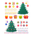set of christmas tree with vector image