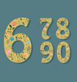 set of floral numerals with hearts vector image vector image