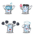 set of iphone character withice cream diving vector image vector image