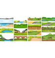 set of nature scene vector image vector image
