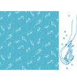 Shrimps Seamless pattern motif White color linear vector image