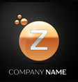 silver letter z logo gold dots splash and bubble vector image
